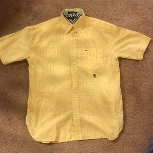 Tommy Hilfiger yellow button down short sleeve